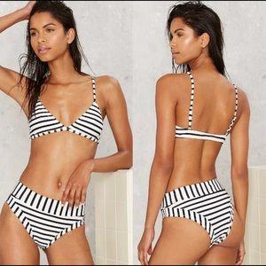 Nasty Gal Between the Lines Striped Bikini NWOT
